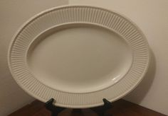 "Wedgwood EDME 15⅞"" OVAL Serving Platter Ribbed Rim Made in England Tray #Wedgwood"