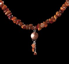 Warm orange carnelian chip necklace with and copper disc, silver and carnelian pendant - pinned by pin4etsy.com