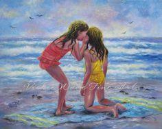 Sea Secrets Art Print beach girls two beach sisters Sisters Art, Two Sisters, Sisters Forever, Kindergarten, Painting Of Girl, Expo, Beach Girls, Beach Art, Art Girl