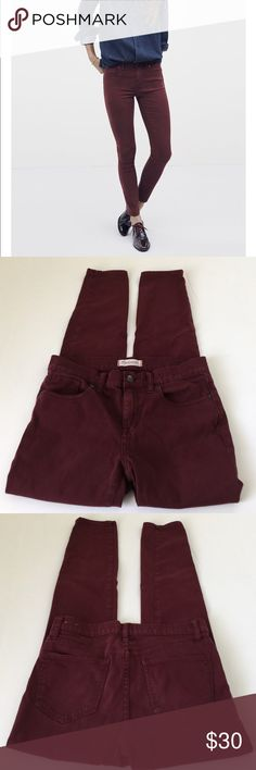 Madewell Skinny Skinny Maroon Ankle Jeans, size 28 Madewell Skinny Skinny Maroon Abkle Jeans in size 28. Flat lay measure of the waist is 14.75. Rise is 8.5, inseam is 28, and leg opening is 5. Made from 60% cotton, 35% modal, and 5% elastan. Very soft and stretchy! In overall very good condition, please ask if you have any questions. Madewell Jeans Ankle & Cropped