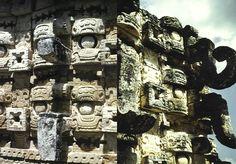 Portada del templo principal de Kabah, Yucatán, México.  Foto de Sergio Mancisidor, 1978
