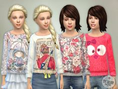 NEW!!! Printed Sweatshirt for Girls P02  By lillka http://www.thesimsresource.com/downloads/details/category/sims4-clothing-female-child-everyday/title/printed-sweatshirt-for-girls-p02/id/1308120/