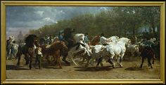 """One of the most famous paintings by Rosa Bonheur, """"Horse Fair"""" is must-see at the Met Museum -- it's mind boggling and has a fascinating art history behind it. Painted Horses, Most Famous Paintings, Famous Artwork, Popular Paintings, Female Painters, European Paintings, Equine Art, Horse Art, Animal Paintings"""