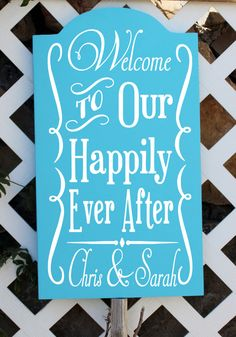 """20"""" Tall Personalized Wedding Sign. Welcome To Our Happily Ever After, reception sign,wedding sign, custom wedding sign, wedding signage on Etsy, $59.99"""