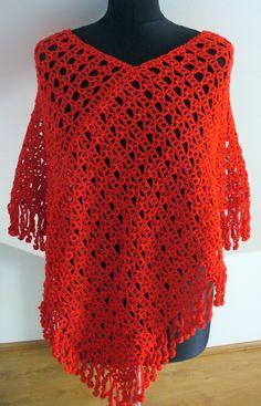 prostě pončo ... uháčkované z kvalitní příze, barva cihlově červená. Velikost S - L. Doporučuji šetrné ruční praní ve vlažné vodě, sušit vleže. Crochet Top, Tops, Women, Fashion, Log Projects, Crochet Poncho, Moda, Women's, La Mode
