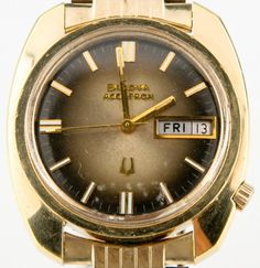 Vtg Bulova Accutron Men's Stainless Steel Gold Electroplated Tuning Fork Watch #Bulova #Dress