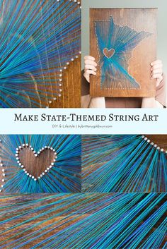 Learn how I made this pretty and easily customizable piece using scrap wood, nails, and thread! This is an easy, low-cost project that would make a great gift | string art, diy string art, state string art