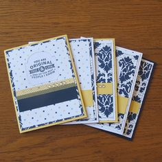 Handmade Card Set- Navy and Yellow Modern Cards 12.00// Hot Wheels And Glue Guns on Etsy