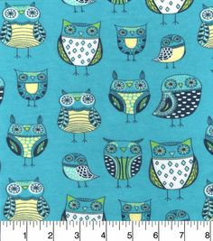 "Snuggle Flannel Fabric 42""-Nature Owl Green"