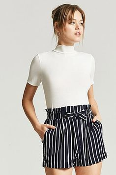 Product Name:Stripe Paperbag-Waist Shorts, Category:Dummy_NoEmpDisc, Shop Forever, Forever 21, Short Skirts, Short Dresses, Navy Shorts, Casual, Latest Trends, Style Inspiration, Fashion Outfits
