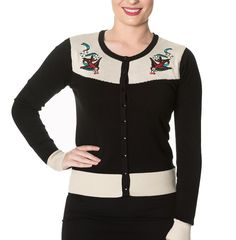 Banned - YOUNG LOVE - Womens - Long Sleeve Embroidered Contrast Cardigan at Amazon Women's Clothing store: