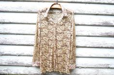 90s Vintage Gold Sheer Floral Lace Shirt Blouse Grunge Slouchy Loose Fit Top Vtg 1990s Size M-L