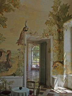 *Rococo Revisited - The garden pavilion with frescoes by Johann Wenzel. - painted walls with fruit and peacocks. The garden pavilion with frescoes by Johann Wenzel Bergl, St - Estilo Tropical, Garden Pavilion, Mural Painting, Wall Paintings, Wall Treatments, Wall Murals, Interior And Exterior, Art Decor, Interior Decorating