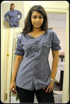 convert blouses into beautiful tops DIY Men's Shirt Refashion w .- blouses verbouwen tot mooie tops DIY Men's Shirt Refashion www. convert blouses into beautiful tops DIY Men's Shirt Refashion www. Diy Clothes Refashion, Diy Clothing, Sewing Clothes, Men's Shirt Refashion, Sewing Shirts, Refashioning Clothes, Remake Clothes, Sewing Men, Refashioned Clothing