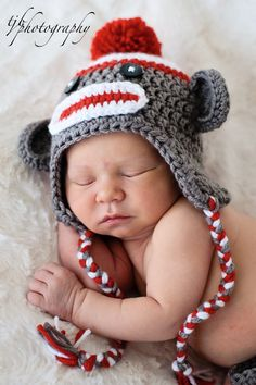 Baby Sock Monkey Hat Baby Crochet Unique by PreciousMomentsProps, $25.00