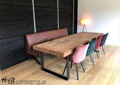 eet-bank-metalen-onderstel-op-maat-leer-uitvoering-Model-BORIS Dining Bench, Lifestyle, Table, Model, Furniture, Collection, Home Decor, Homemade Home Decor, Table Bench
