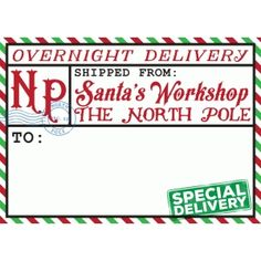 I think I'm in love with this design from the Silhouette Design Store! Christmas Labels, Christmas Diy, The Elf, Elf On The Shelf, Overnight Delivery, Shipping Label, Santas Workshop, Special Delivery, Essential Oil Uses