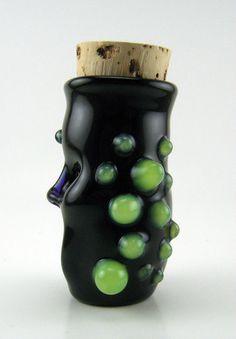 Boro glass stash jar shot glass tribal tiki by ElSaboGlass on Etsy