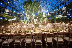 greenhouse wedding reception - photo by Kelly Sweet Photography http://ruffledblog.com/botanical-garden-wedding-with-glass-ceilings