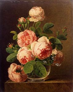 Art Oil painting Jan Frans van Dael - Still Life of Roses in a Glass vase canvas Plant Painting, Diy Painting, Art Floral, Rose In A Glass, Etiquette Vintage, Coming Up Roses, Painting Still Life, Oil Painting Reproductions, Paint By Number