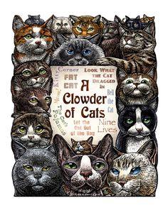 Ein Clowder Katzen 11 x 14 Katze Kunstdruck von ChetArt auf Etsy, $25.00