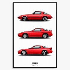Mazda Generations automotive art print featuring the FB, FC, and FD chassis. Classic Japanese Cars, Classic Cars, Rotary, Mazda Cx3, Rx7, Gifts For My Boyfriend, Nissan Gt, Automotive Art, Jeep Cherokee