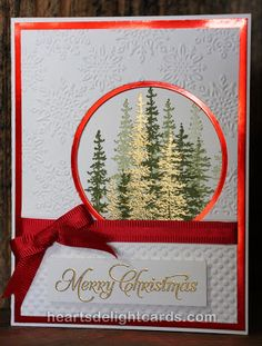 handmade Christmas card from Heart's Delight Cards ... red, white and green with…