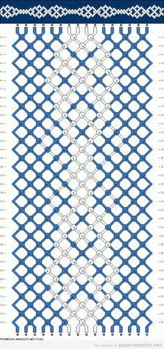 Diagrama, esquema o patrón de pulsera de macramé