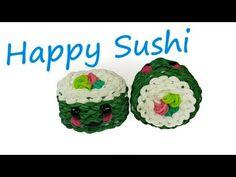 Happy Sushi Tutorial by feelinspiffy (Rainbow Loom) - YouTube. Super cute! Ellen is awesome!