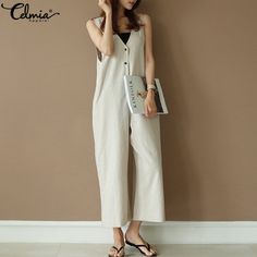 Well-Educated 2019 Hot Sale Plus Size Women Wide Leg Jumpsuits Solid Fashion Vocation Casual Cotton Linen Long Pants Ladies Rompers Overalls Women's Clothing