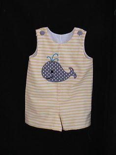 Custom Handmade Boys Jon Jon Romper shortall Yellow Stripe with gray Polka dot Whale. $38.00, via Etsy.