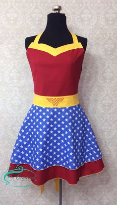 Wonder Woman Inspired Ruffled Apron by ShannonCreated on Etsy https://www.etsy.com/listing/188043112/wonder-woman-inspired-ruffled-apron