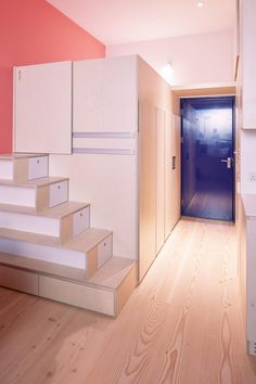 Small Space Living, Living Spaces, Tiny Loft, Illuminated Mirrors, Micro Apartment, Real Wood Floors, Corner Sink, Micro House, Compact Living