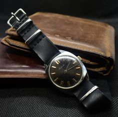 Vintage Soviet watches Raketa 1975 year with leather band Ruby Jewel, Vintage Watches, Seiko, Dandy, Luxury Watches, Rolex, At Least, Jewels, Accessories
