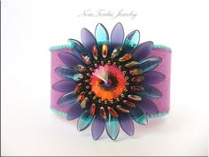 Bead Embroidery Bracelet - beaded bracelet Purple, black and turquise bead embroidery cuff on Etsy, $77.96