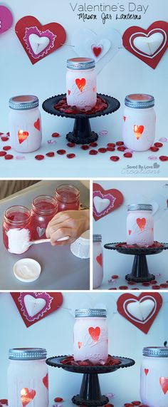 DIY Chalkboard paint Mason Jar Valentines Day Lanterns @savedbyloves @decoart_inc