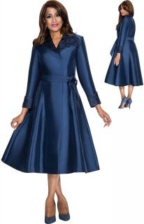 DCC - DCC211 Womens Lace Lapel Dress With Belt Fall 2016 Dorinda Clark Cole The Rose Collection  Navy Sizes 10-24W