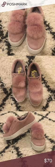 Sam Edelman Leya Faux Fur Pom-Pom sneaker Pink suede slip on with Pom Pom detail, wear only visible on the sole Sam Edelman Shoes Sneakers