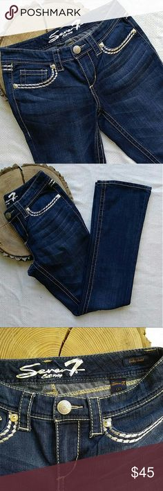 """Seven7 Embroidered Rhinestone Jeans Like-new condition! Dark wash with thick, tan stitching and bling on the back pockets! Inseam measures 32"""" Thanks for looking! Seven7 Jeans Boot Cut"""