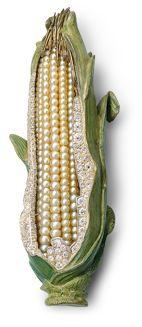 Sweet Corn - By fourth generation family jewellery design: Hemmerle. Oriental pearls - diamonds - silver - gold