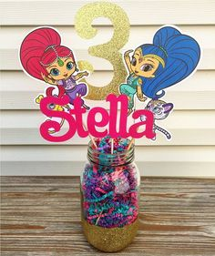 shimmer and shine centerpiece ideas shimmer and shine centerpiece shimmer and shine party decorations shimmer shine birthday centerpiece shimmer shine party centerpiece vases for baby shower 5th Birthday Party Ideas, Birthday Party Centerpieces, Fourth Birthday, Birthday Fun, First Birthday Parties, Princess Birthday, Shimmer And Shine Decorations, Shimmer And Shine Cake, Little Girl Birthday