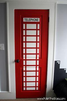 Phone booth closet door - leads to superhero changing room of course. And Gotham city painted skyline headboard idea superhero-room Telephone Booth, Bedroom Doors, Wooden Bedroom, Painted Doors, Painted Closet, Closet Doors, Closet Redo, Hallway Closet, Bathroom Closet