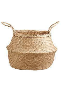 heimelig-shop - natural basket mit griffen korb geflochten bloomingville mit griffen natur schwarz naturals basket aufbewahrung