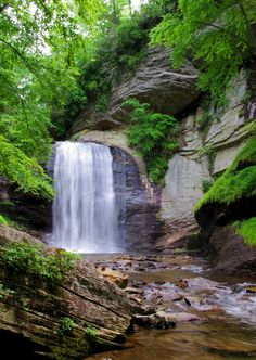 Looking Glass Falls in Pisgah National Forest in the North Carolina Mountains