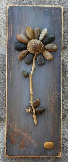 Pebble Art, Rock Art, Pebble Art Flower, Rock Art Flower, on reclaimed wood, approx 11.5x4.5  (FREE SHIPPING)