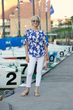 Tie Sleeve Blouse Looks Wow With White Jeans | Fabulous After 40