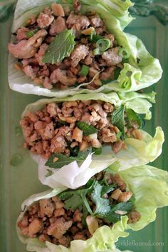 Healthy Thai Lettuce Wraps: also add in lemongrass, shallot can be garlic, and if you dont have tamari or fish sauce just use soy sauce and buy the trader joes gyoza sauce for dipping! (and obviously dont use canola oil) LOVED THEM!