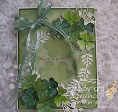 """By Bibiana. st. patricks card featured at my French blog"""" Un brin de créativité"""" for #memorybox as part of my contributions as a DTM. technique used : Rock 'n roll. For more ideas on greeting cards visit me at my personal blog: http://stampingwithbibiana.blogspot.com/2013/03/st-patricks-card.html"""