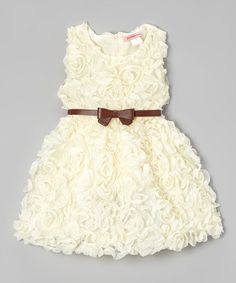 Look at this #zulilyfind! Ivory Rosette Dress - Toddler & Girls by Paulinie #zulilyfinds