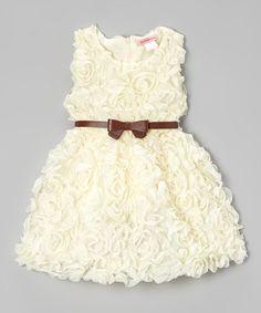 Look at this #zulilyfind! Ivory Rosette Dress - Toddler & Girls by Paulinie #zulilyfinds